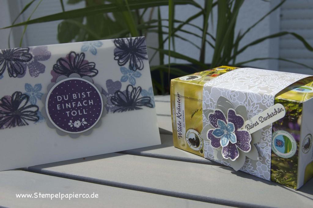 Karte und Tee-Verpackung mit Flower Shop von Stampin' Up!