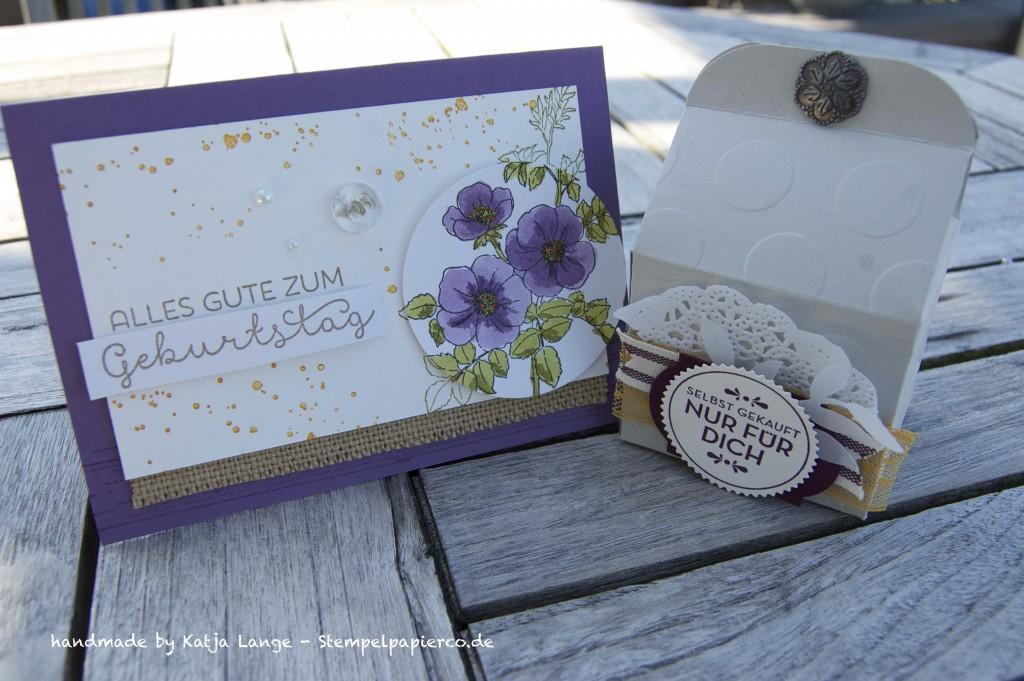 Glückwunschkarte mit Sweetbriar Rose und Aquapaintern von Stampin' Up!1