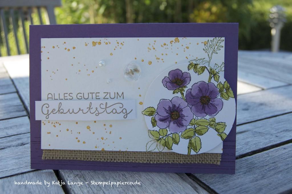 Glückwunschkarte mit Sweetbriar Rose und Aquapaintern von Stampin' Up!4