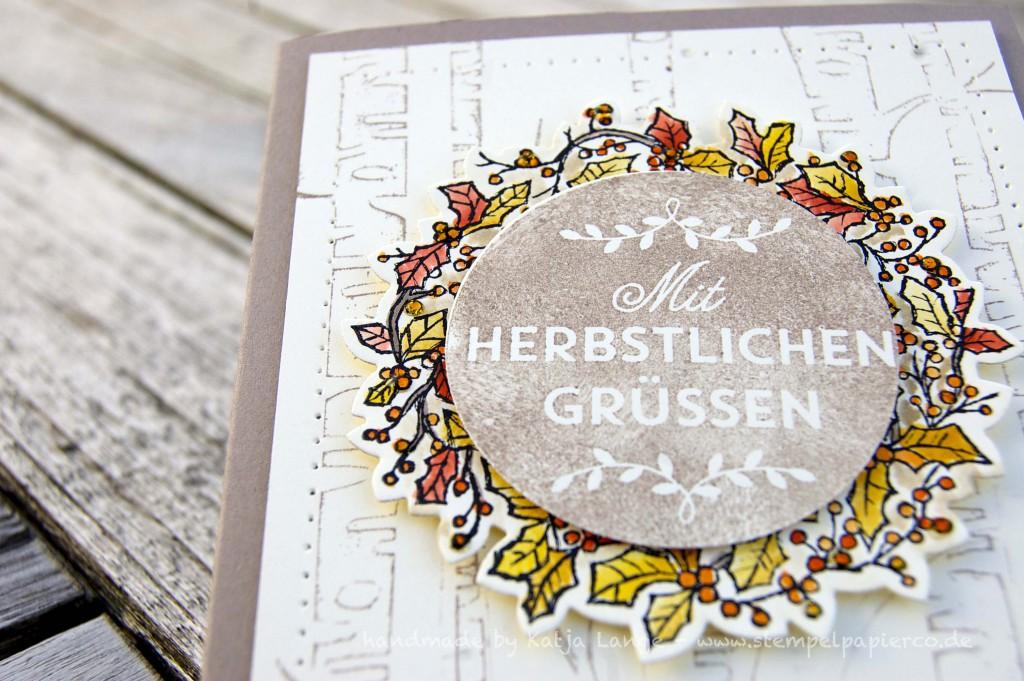 Karte mit Herbstkranz und Peaceful Wreath3 - Zwischen den Zweigen