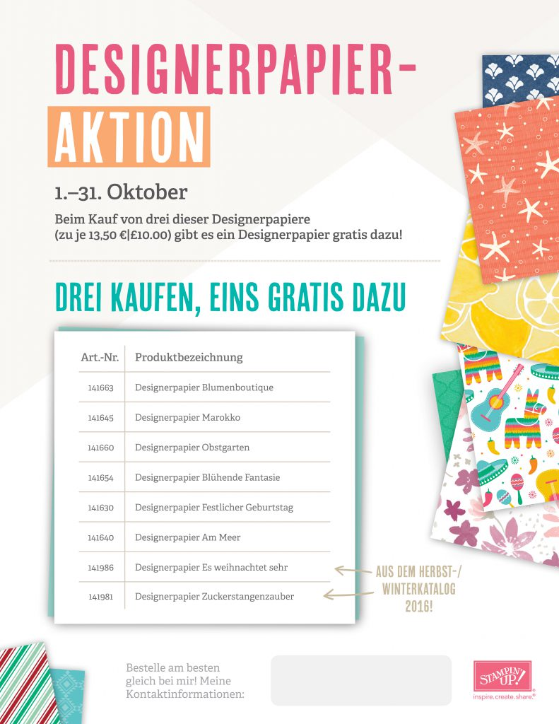 Aktion Designerpapier Stampin' Up! 2016