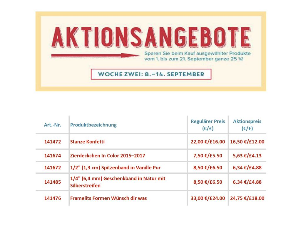 Aktionsangebote 08.-14.09.16 Stampin' Up!